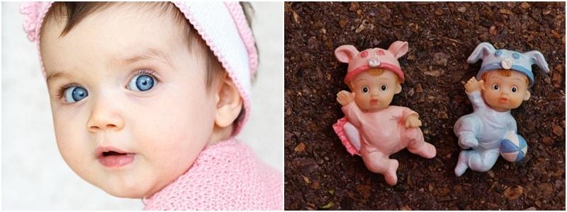 Niña con muñecos rosa y azul