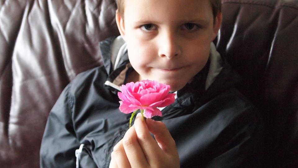niño con rosa en la mano discriminado por plumofobia